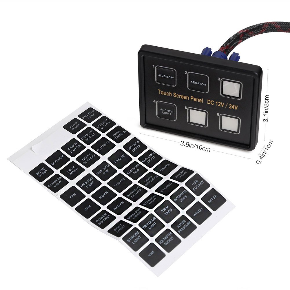 Rupse 12V/24V 6 Gang IP66 LED Switch Panel Touch Control Box 960W