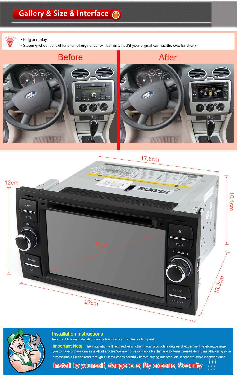 Rupse for ford 2004 2006 mondeo 2005 2008 ford focus 2009 ford transit 2005 2007 ford fiesta 2011 2012 ford kuga indash dvd gps navigation with